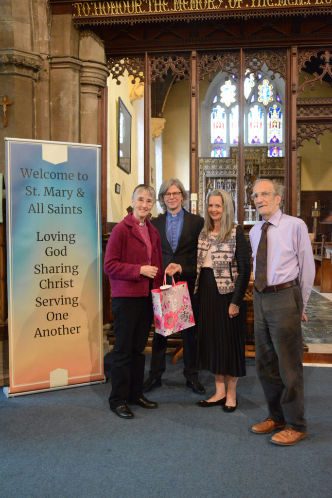 The Rt. Rev. Alison White, Bishop of Hull receiving a gift from our wardens following the One Life Mission.