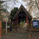 Poppies on church railings