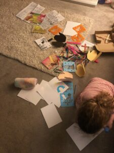 One of our younger church family members having fun with the Lent Activity Box